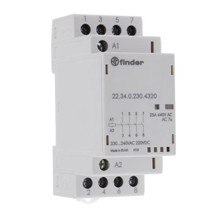 Stykač 22.34.0.230.4320 modulárny 25A 4P 4NO 230V/AC-DC FINDER F7892736 01