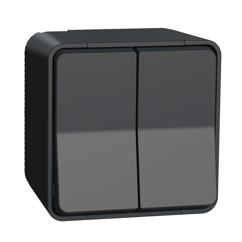 Spínač MUR35022 č.5B (6+6) antracit povrch. mont. komplet IP55 Mureva Styl MUR35022 IoPdef PMP19 1500x1500