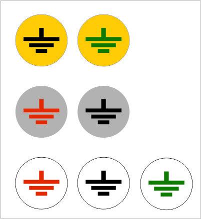 Samolepka č.8 (ZEM), kruh žltý, 22mm, čierny znak bez obvodu 08