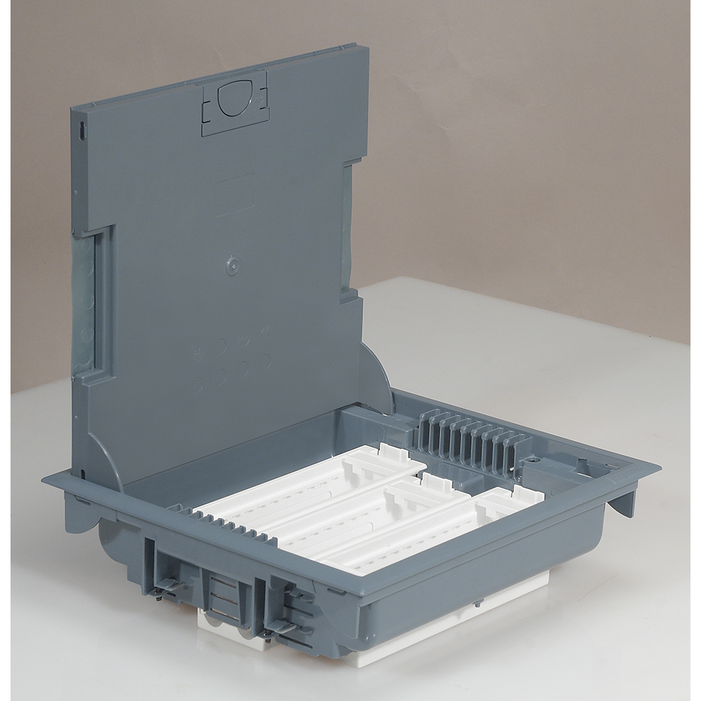 Škatuľa podlahová LE089611 prístrojová, 18M, sivá, hĺbka 75-105mm (prázdna) 089611 LEGRAND 1000