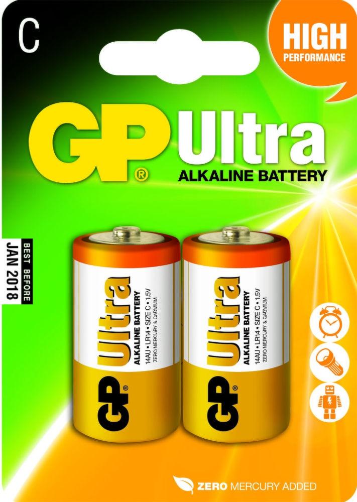 Batéria GP14AU-2U2 alkalická (B1931) C 1,5V LR14 (bal=2ks) Ultra (oranžová) GP 13042