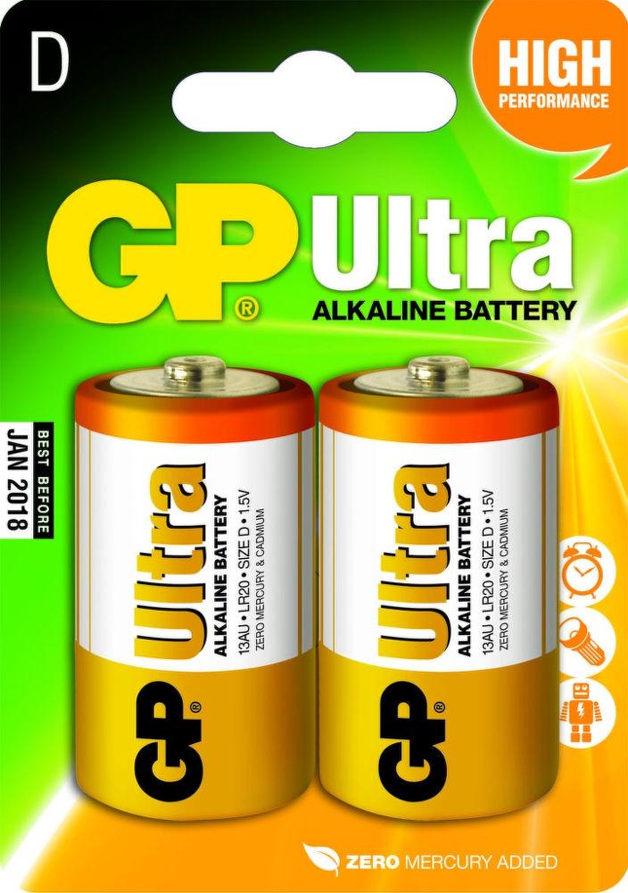 Batéria GP13AU-2U2 alkalická (B1941) D 1,5V LR20 (bal=2ks) Ultra (oranžová) GP 95