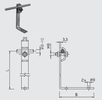 Podpera PV 23 na plechové strechy l=110mm FeZn ZIN (f313311) Bez nazvu 101