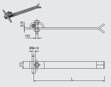 Podpera PV 02 do muriva, l=200mm FeZn ZIN (f311120) Bez nazvu 102