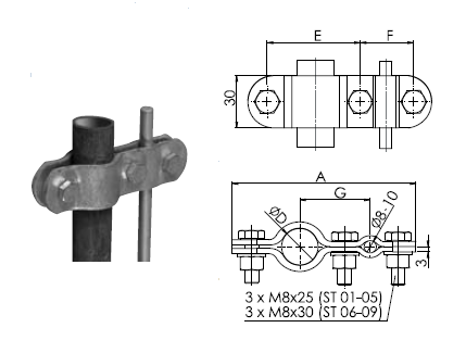 "Svorka ST 08 guľatina - potrubie 3"" FeZn ZIN (f615108) Bez nazvu 88"