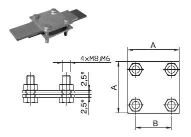 Svorka SR 02 (M6) odbočovacia a spojovacia pre pásovinu 30x4(3,5)mm FeZn ZIN (f616112) Bez nazvu 96
