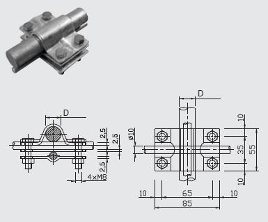 Svorka SJ 02 uzemňovacia tyč (pr.25mm) - guľatina FeZn ZIN (f611128) Bez nazvu 97