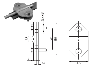 Svorka SR 03 B spojovacia guľatina - pásovina FeZn ZIN (f616212) Bez nazvu120