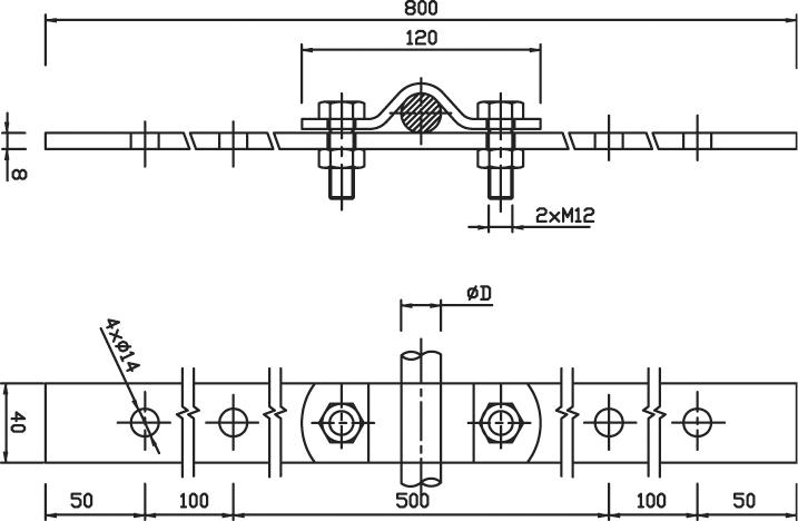 Držiak DJ 4d zvodovej tyče, spodný na krov FeZn ZIN (f211312) dj4d copy
