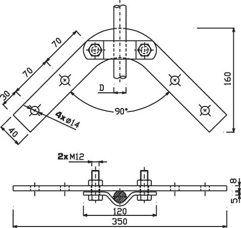Držiak DJ 4h zvodovej tyče, horný na krov FeZn ZIN (f211212) dj4h copy