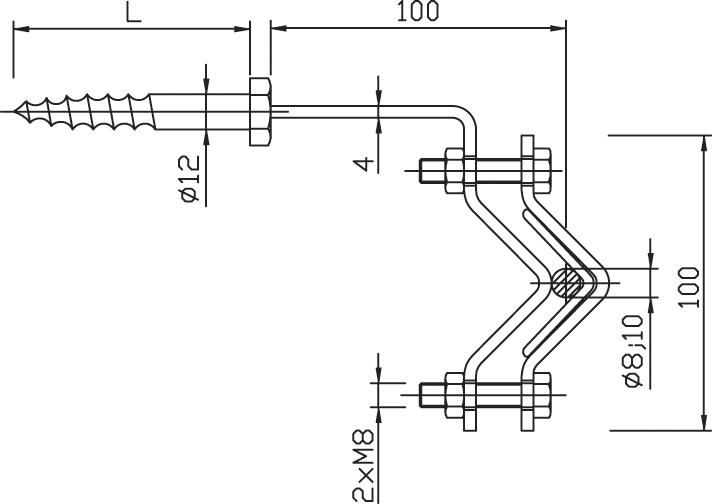 Držiak DUD ochranného uholníka do dreva FeZn ZIN (f521112) dud copy