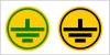 Samolepka č.E 013 (ZEM), kruh žltý, 12mm, čierny znak, čierny obvod e013