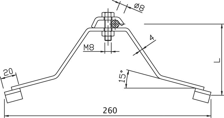 Podpera PV 16 na hrebeň strechy - pre vlnitý eternit na hrebeni FeZn ZIN (f312509) pv 16 copy