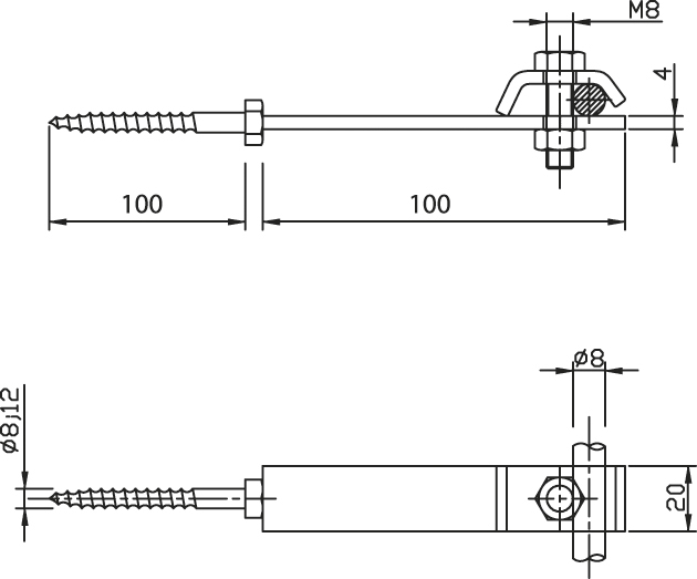 Podpera PV 17 do drevených konštrukcií so skrutkou FeZn ZIN (f312622) pv 17 copy