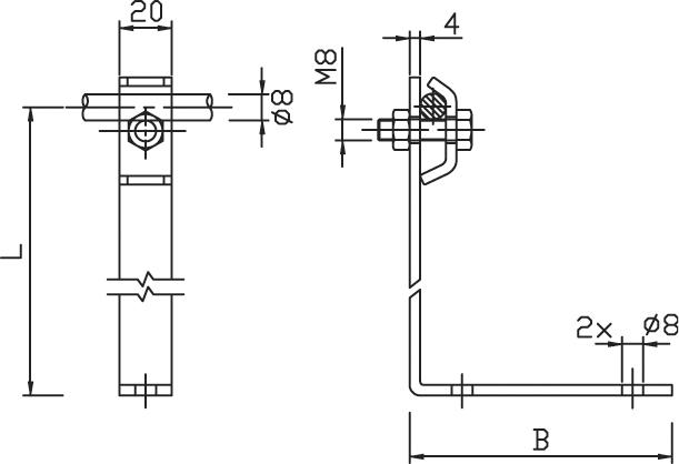 Podpera PV 24 na plechové strechy l=240mm FeZn ZIN (f313324) pv 24 copy