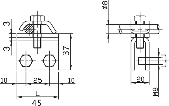 Podpera PV 32 na svetlíky a oceľové konštrukcie FeZn ZIN (f314205) pv 32 copy