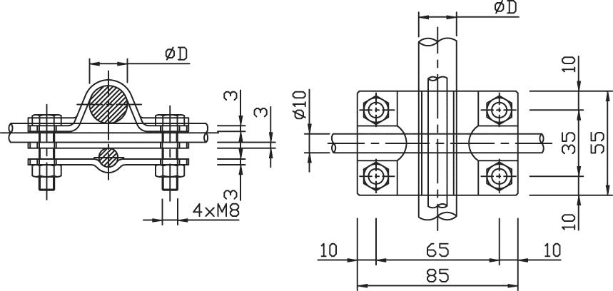 Svorka SJ 01 zvodová tyč (pr.20mm) - guľatina FeZn ZIN (f611120) sj 01 copy