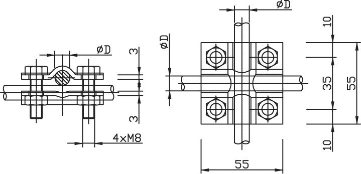 Svorka SK krížová, guľatina - guľatina FeZn ZIN (f612110) sk copy