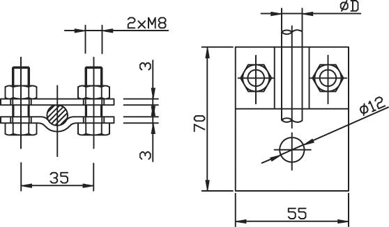 Svorka SP 1 pripojovacia guľatina - oceľová konštrukcia FeZn ZIN (f613212) sp 1 copy