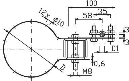 Svorka ST 10 guľatina -odkvapové potrubie 50-150mm FeZn ZIN (f615215) st 10 copy